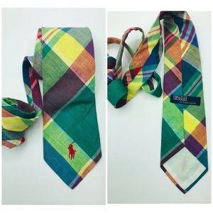 Polo Ralph Lauren Mens Tie Plaid Cotton Logo